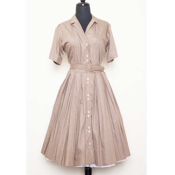 Vintage Dresses & Skirts - 1950s shirt dress with full pleated skirt